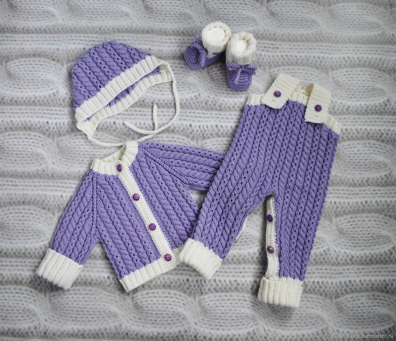 Вязаный теплый комплект из 100% шерсти мериноса для новорожденного, Комплекты одежды для малышей, Зеленоград,  Фото №1