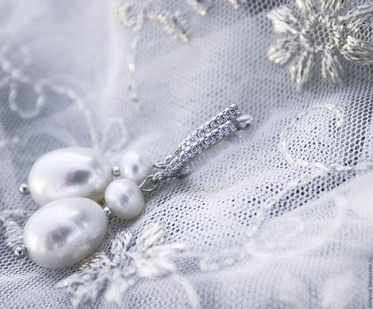 Серьги ручной работы. Ярмарка Мастеров - ручная работа. Купить Пресноводный жемчуг серьги свадебные бохо для невесты. Handmade. Серебряный