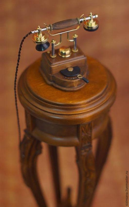 Миниатюрные модели ручной работы. Ярмарка Мастеров - ручная работа. Купить Ретро телефон (миниатюра). Handmade. Золотой, латунь, сталь