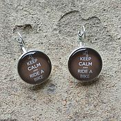 Украшения handmade. Livemaster - original item Earrings silver plated Keep calm (bike). Handmade.