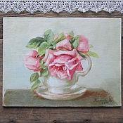 """Картины и панно ручной работы. Ярмарка Мастеров - ручная работа Картина """"розы в чашке"""". Handmade."""