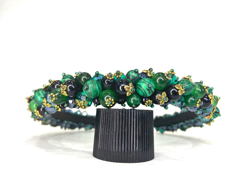 Rim of beads and stones (malachite), Headband, Moscow,  Фото №1