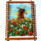 Для дома и интерьера handmade. Livemaster - original item Wall clock large Mill, panels, fusing. Handmade.