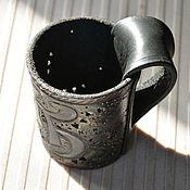 Стаканы ручной работы. Ярмарка Мастеров - ручная работа Кожаный подстаканник с декором. Handmade.