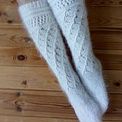 Аксессуары handmade. Livemaster - original item Down socks snow White. Handmade.