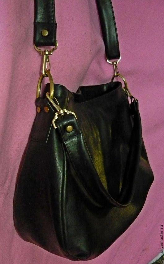 Женские сумки ручной работы. Ярмарка Мастеров - ручная работа. Купить Сумка кожаная  с двумя ремешками. Handmade. Черный