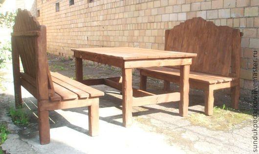 Мебель ручной работы. Ярмарка Мастеров - ручная работа. Купить Комплект садовой мебели. Handmade. Коричневый, лавки, отдых, доска