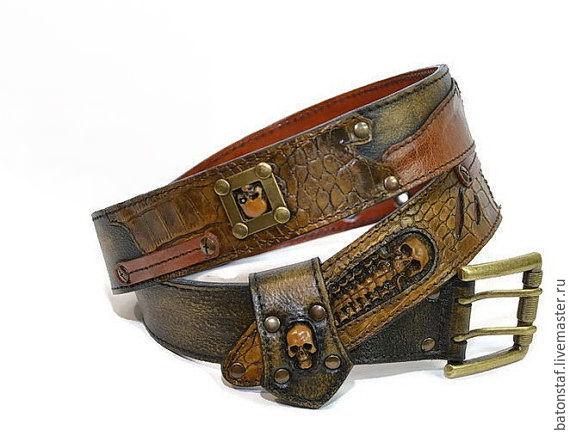 leather belt handmade skulls steunk shop on