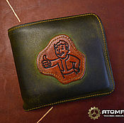Субкультуры handmade. Livemaster - original item Vault boy man leather wallet. Handmade.