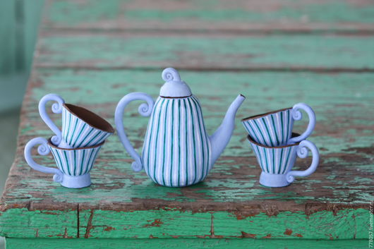 """Сервизы, чайные пары ручной работы. Ярмарка Мастеров - ручная работа. Купить Посудка """"Кукольная"""". Handmade. Голубой, кукольная посуда"""