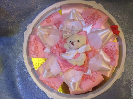 """Для новорожденных, ручной работы. Ярмарка Мастеров - ручная работа. Купить Бант на выписку """" Мишка для девочки"""". Handmade. Розовый"""