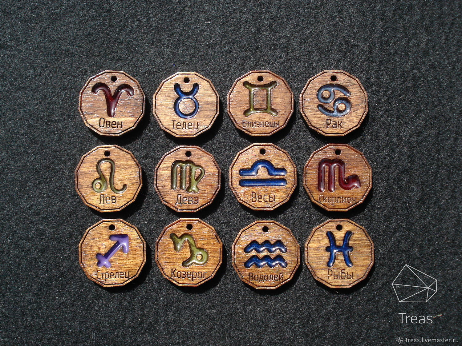 Medallions of wood and resin with zodiac signs, Pendants, Mikhailovka,  Фото №1