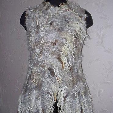 Одежда ручной работы. Ярмарка Мастеров - ручная работа Жилет валяный из флиса Дикая шкура-3. Handmade.