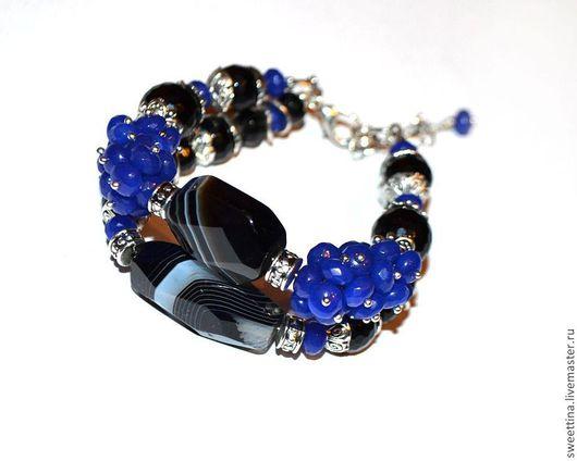 """Браслеты ручной работы. Ярмарка Мастеров - ручная работа. Купить Агатовый двухрядный браслет """"Вечерний"""". Handmade. Тёмно-синий"""