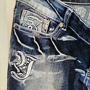Винтаж ручной работы. Ярмарка Мастеров - ручная работа Джинсы вареник с вышивкой с заниженной талией на 46-48 размер.. Handmade.