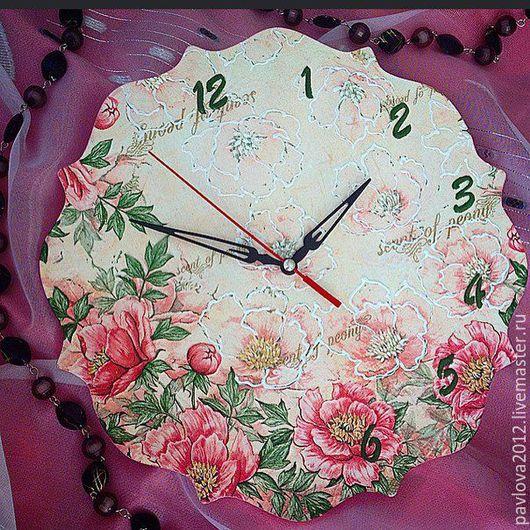 """Часы для дома ручной работы. Ярмарка Мастеров - ручная работа. Купить Настенные часы """"Пионы"""". Handmade. Разноцветный, Декупаж"""