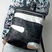 Сумки и аксессуары handmade. Livemaster - original item Black backpack, genuine leather, patchwork.. Handmade.