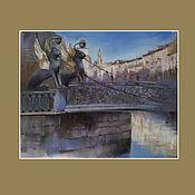 Картины и панно handmade. Livemaster - original item Pastel painting of St. Petersburg (griffins bridge blue gray city). Handmade.