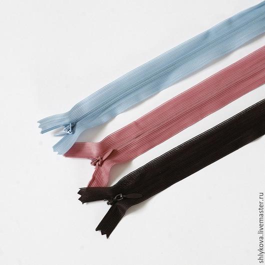 Шитье ручной работы. Ярмарка Мастеров - ручная работа. Купить Потайные молнии, 50 см.. Handmade. Разноцветный, потайная молния