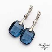 Украшения handmade. Livemaster - original item Silver earrings with Swarovski crystals Dark blue Swarovski earrings. Handmade.
