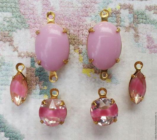 """Для украшений ручной работы. Ярмарка Мастеров - ручная работа. Купить Винтажный набор:стразы, кристаллы, подвески """"Pink """". Handmade."""
