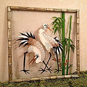 """Картины и панно ручной работы. Ярмарка Мастеров - ручная работа Картина на стекле """"Журавли"""" большая. Handmade."""