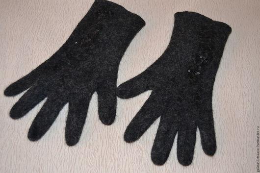 Варежки, митенки, перчатки ручной работы. Ярмарка Мастеров - ручная работа. Купить Перчатки валяные. Handmade. Черный, аксессуары, вискоза