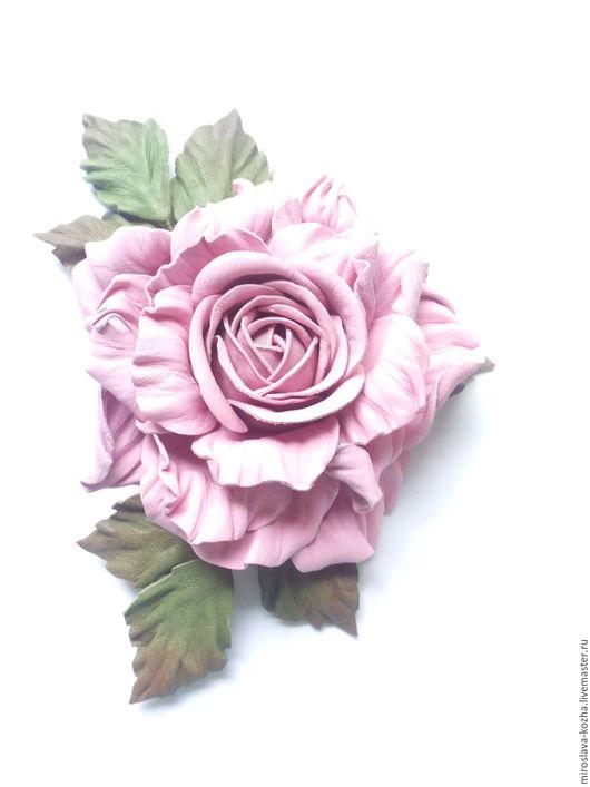 """Броши ручной работы. Ярмарка Мастеров - ручная работа. Купить Для того, кого Вы любите, брошь из кожи """"Роза"""". Handmade."""