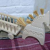 Куклы и игрушки ручной работы. Ярмарка Мастеров - ручная работа Лошадь с телегой  большая. Handmade.