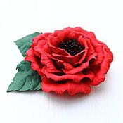 Украшения ручной работы. Ярмарка Мастеров - ручная работа Брошь или заколка из фоамирана Красный цветок. Handmade.