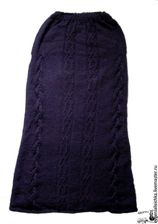 Юбки ручной работы. Ярмарка Мастеров - ручная работа. Купить Вязаная юбка с косами. Handmade. Комбинированный, юбка в пол
