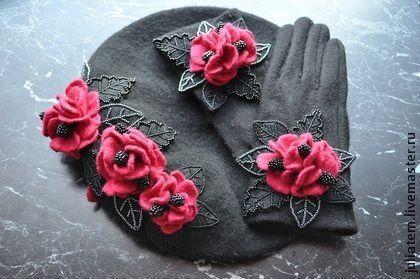 """Варежки, митенки, перчатки ручной работы. Ярмарка Мастеров - ручная работа. Купить Комплект """"Рандеву в Мадриде"""". Handmade. Женские перчатки"""