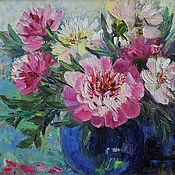 Картины и панно handmade. Livemaster - original item Painting with pink peonies oil on canvas, Bouquet in a vase.. Handmade.