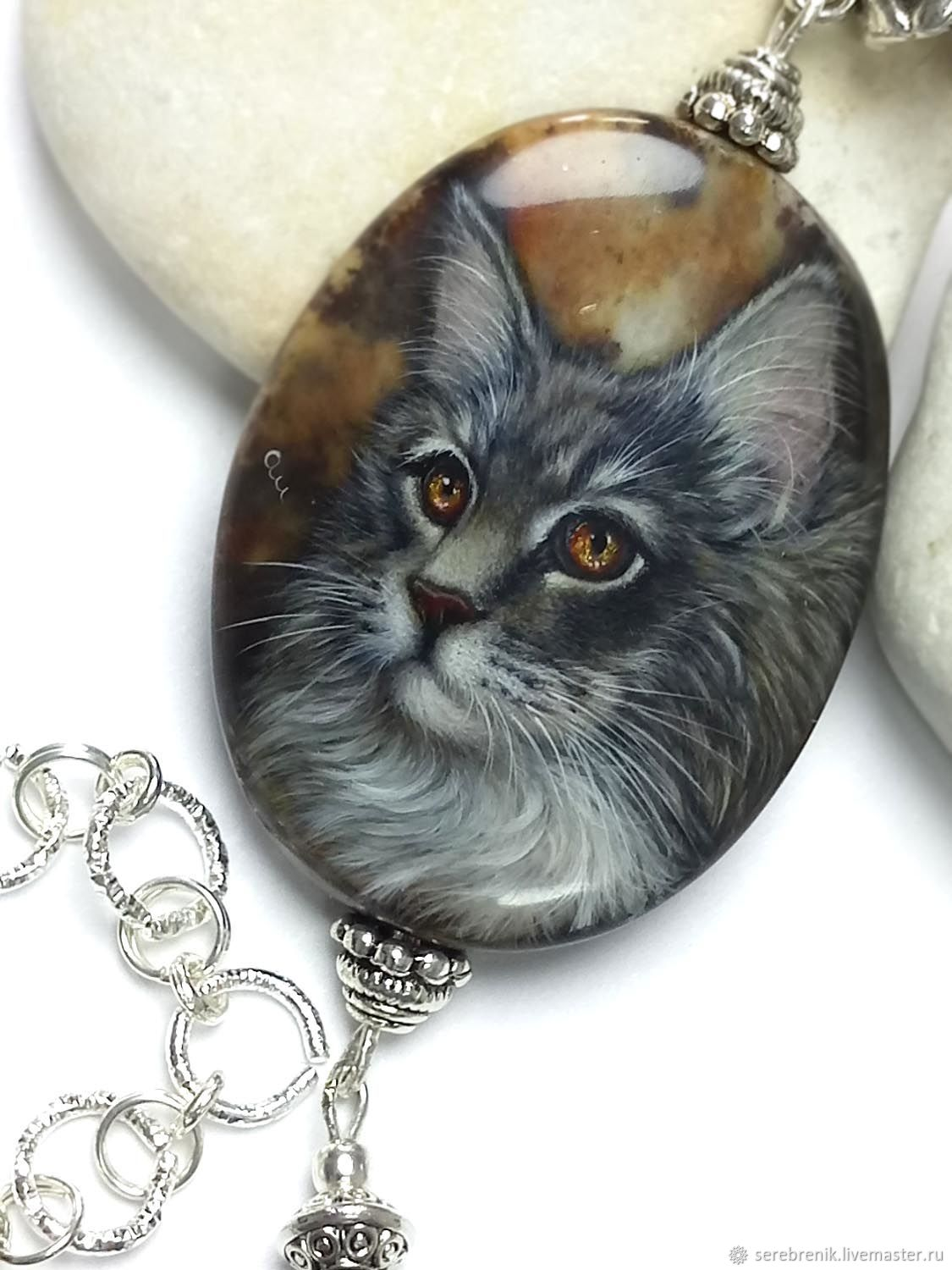 Mozart – beautiful cat on Jasper, necklace pendant with lacquer painting, Pendants, Moscow,  Фото №1