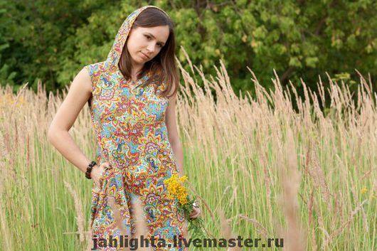 Этническая одежда ручной работы. Ярмарка Мастеров - ручная работа. Купить Платье с эльфийским капюшоном. Handmade. Летнее платье
