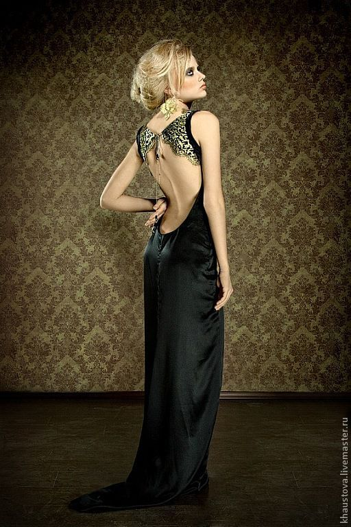 Платья ручной работы. Ярмарка Мастеров - ручная работа. Купить Длинное черное платье с открытой спиной из шелка. Handmade. Черный