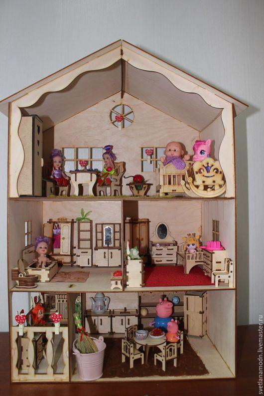 Кукольный дом ручной работы. Ярмарка Мастеров - ручная работа. Купить Кукольный домик 1 - дом - комната - мебель для кукол. Handmade.