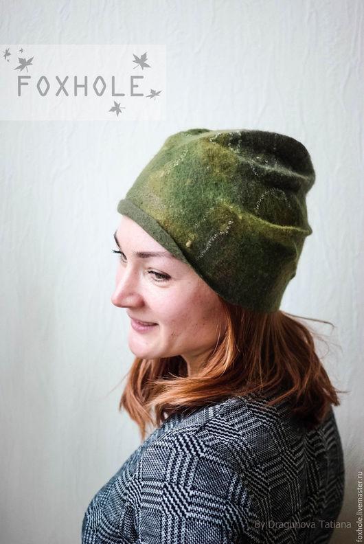 Шапки ручной работы. Ярмарка Мастеров - ручная работа. Купить Войлочная легкая шапочка Лесная зелень зеленая валяная. Handmade.