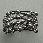 Украшения handmade. Livemaster - original item Silver bacelet  beads with leather. Handmade.