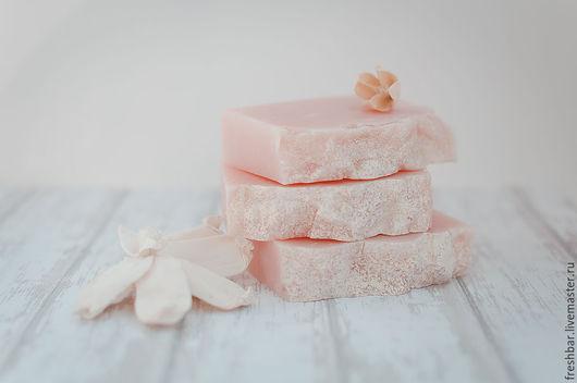 """Мыло ручной работы. Ярмарка Мастеров - ручная работа. Купить Мыло """"Цветы вишни"""" натуральное с нуля. Handmade. Бледно-розовый"""