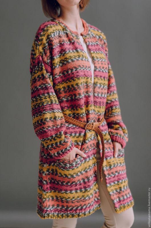 """Кофты и свитера ручной работы. Ярмарка Мастеров - ручная работа. Купить Кардиган """"Норвежский"""".. Handmade. Комбинированный, кардиган длинный"""