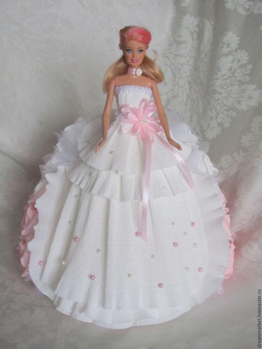 Букеты ручной работы. Ярмарка Мастеров - ручная работа. Купить Кукла с конфетами. Handmade. Бледно-розовый, кукла, органза