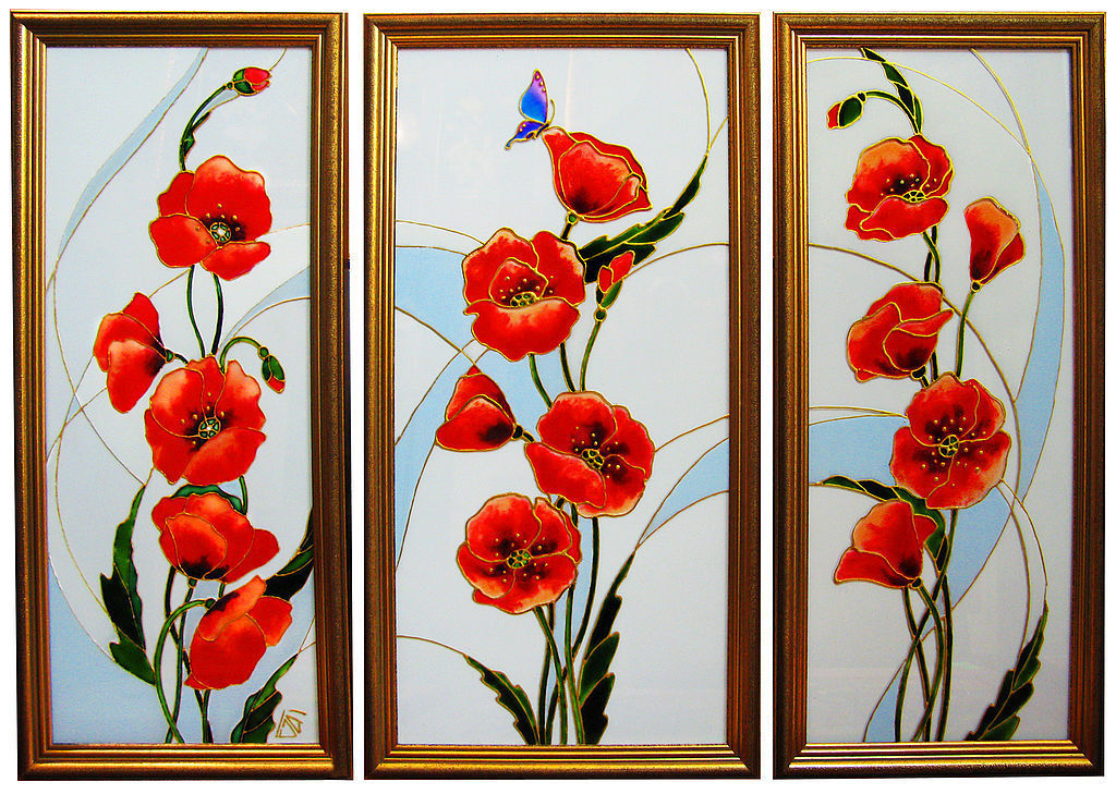 Triptych Red poppies, stained glass painting, Pictures, Moscow,  Фото №1