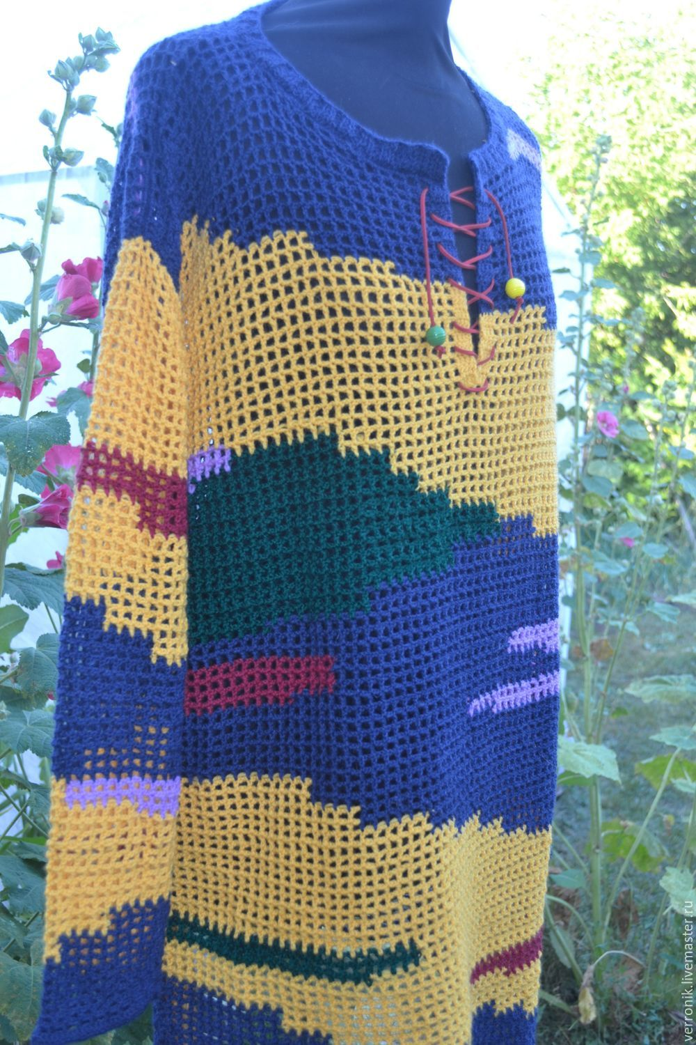 Tunic Knitted Stained Glass Windows Yellow Blue Red Green