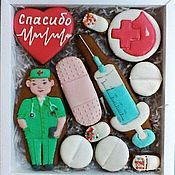 Сувениры и подарки handmade. Livemaster - original item Set of gingerbread for doctors. Gingerbread Thank you,DR.!. Handmade.