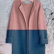 Одежда ручной работы. Ярмарка Мастеров - ручная работа Пальто Оверсайз Вязаное Норка (сине-пудровый цвет). Handmade.