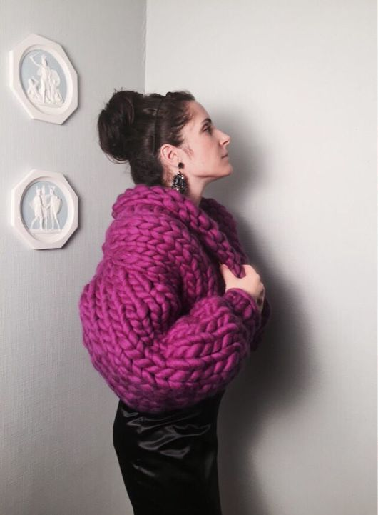 Кофты и свитера ручной работы. Ярмарка Мастеров - ручная работа. Купить Кардиган болеро крупной вязки. Handmade. Кардиган