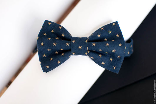 """Галстуки, бабочки ручной работы. Ярмарка Мастеров - ручная работа. Купить Галстук бабочка """"Star"""". Handmade. Тёмно-синий, джинса"""