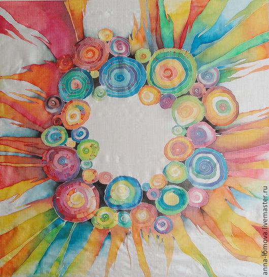 """Платок """"Хоровод"""" выполнен в технике холодного батика на тонком шелке. Автор Анна Ломова. Ярмарка Мастеров."""
