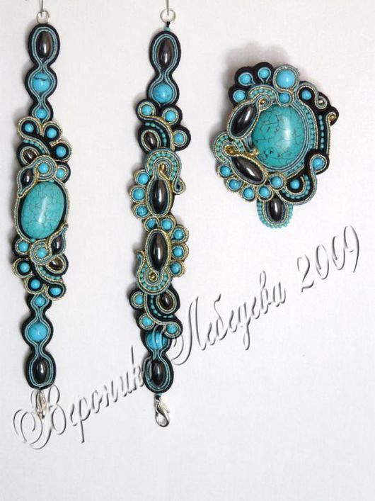 Bracelets handmade. Livemaster - handmade. Buy Turquoise lagoon-continued.Soutache, beads